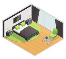 Affiche vue isométrique intérieure de chambre à coucher