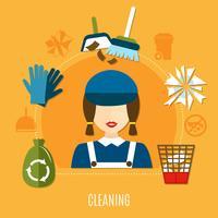 Composition du cercle de l'entreprise de nettoyage