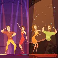 Affiche de dessin animé de paires de soirée dansante disco vecteur