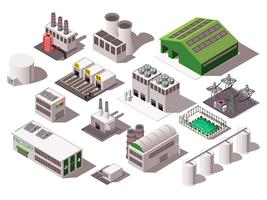 Set isométrique d'usine vecteur