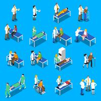 Docteur Patient Communication Isometric Icons Set