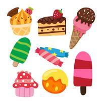 conception de collection de dessert vecteur