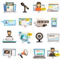 blogosphère communications icon set