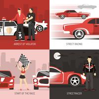 Street Racing Cocept 4 icônes plates vecteur