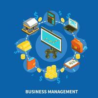 Composition ronde isométrique de gestion commerciale vecteur