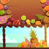 Ensemble de bannières de fruits de l'île tropicale