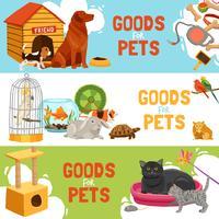 Bannières horizontales marchandises pour animaux domestiques vecteur