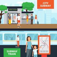Bannières horizontales de personnes du métro