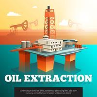 Affiche isométrique de plate-forme offshore de forage pétrolier