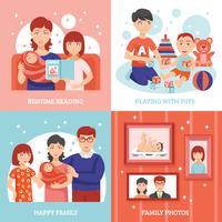 jeu d'icônes de notion de famille vecteur