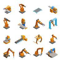 Jeu d'icônes isométriques bras robotique mécanique