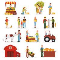 Collection d'icônes plat ferme récolte d'automne vecteur
