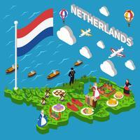 Carte touristique des Pays-Bas vecteur