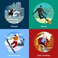 les gens de sports extrêmes 2x2 icônes définies vecteur