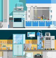 Deux bannières horizontales de laboratoire scientifique