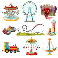 Parc d'attractions attractions plat Icons Set