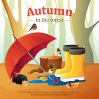 Affiche de la composition des éléments de la forêt en automne vecteur