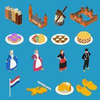 Icônes touristiques Pays-Bas vecteur