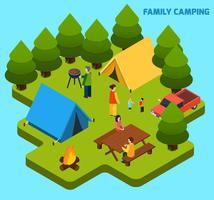 Composition isométrique camping et voyages vecteur