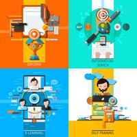 Éducation en ligne Concept Icons Set vecteur