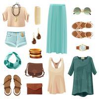Ensemble d'accessoires de mode femme vecteur