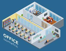 Affiche de vue intérieure de bureau isométrique vecteur