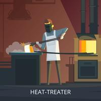 Affiche de dessin animé rétro de forgeron au travail