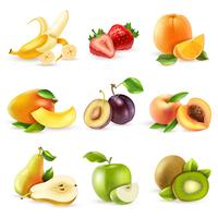 Fruits plats Icons Set