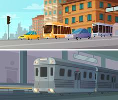 Bannières horizontales de dessin animé de transport de ville