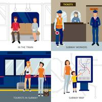 Concept de design de personnes de métro vecteur