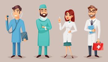 Affiche rétro de dessin animé de personnes de professionnels médicaux vecteur