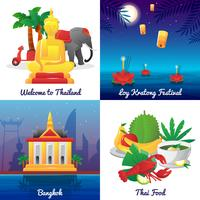Place de la Thaïlande culture 4 icônes plat vecteur