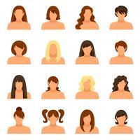 Set d'icônes de coiffure femme