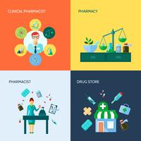 Pharmacien Flat Icon Set