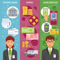 Bannières verticales des employés de banque vecteur