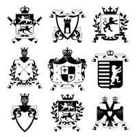 Collection d'icônes noires de conception d'emblèmes héraldiques