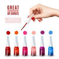 Affiche réaliste des meilleures couleurs de vernis à ongles
