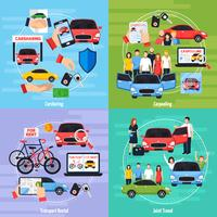 Carsharing Concept Icons Set vecteur
