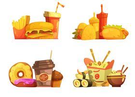 Set de dessin animé rétro repas de restauration rapide