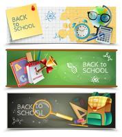 Ensemble de bannières horizontales de retour à l'école