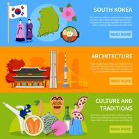 . Corée du Sud Culure Flat Banners Design