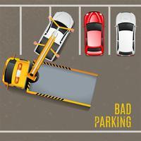 Mauvais parking vue de dessus fond