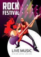 Affiche de bande dessinée de festival de roche vecteur