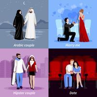couples 2x2 jeu d'icônes plat vecteur