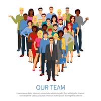 Affiche plate de l'équipe de professionnels de la foule vecteur