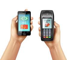Mains avec smartphone et terminal de paiement
