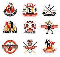 Emblèmes colorés de clubs martiaux vecteur