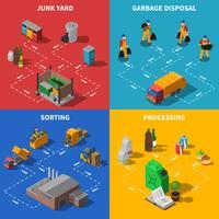 Déchets Recyclage Isométrique Concept Icons Set vecteur