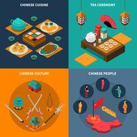 Chine touristique isométrique 2x2 Icons Set vecteur
