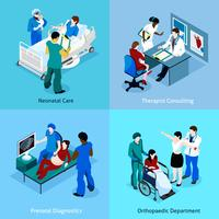 Docteur Patient Isometric Icon Set